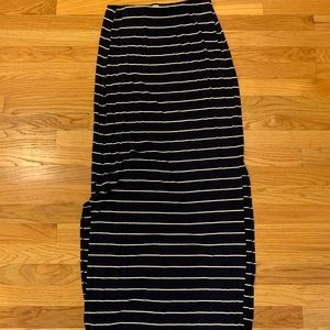 Navy and white striped maxi skirt